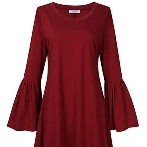 Plus Size Red Knit Flare Bell Sleeve Shirt Dress